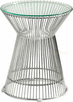 Mid-century Modern Platner Stainless Steel Spoke Wire Glass End Table