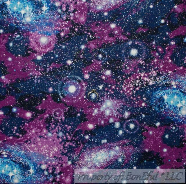 FAT QUARTER Blue Silver Stars Night Sky FABRIC QUILT COTTON FQ
