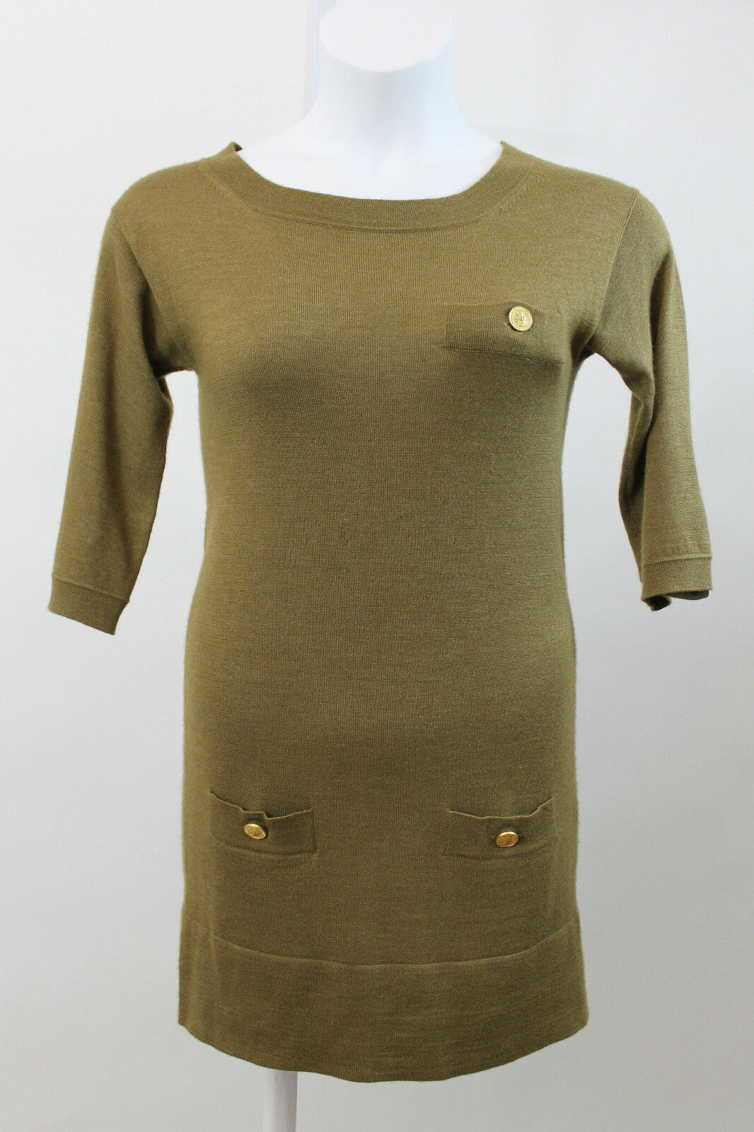 Chloe Bronze Cashmere & Silk Blend Blend Blend Knit Sweater Dress XS  (J12) 5ba071