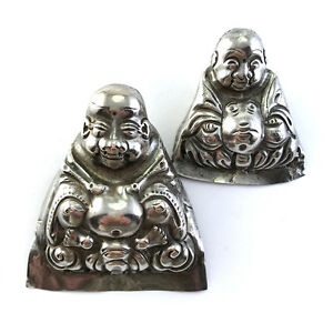 Lot-2-Antique-Chinese-Repousse-Silver-Happy-Buddha-Child-039-s-Hat-Ornaments-C-1900
