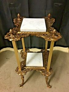"""Victorian Brass & Marble Fern Stand Ornate Plant Stand 26"""""""