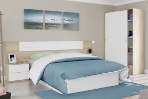 Pack dormitorio completo 2 mesitas noche cabezal y armario de puertas correderas