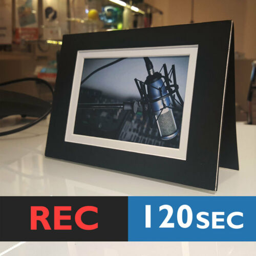 RECORD chip sound music voice musical greeting 120s PHOTO FRAME CARD BLACK
