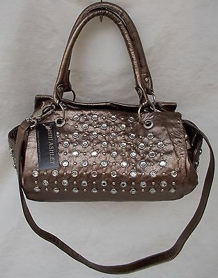 New Women's Ohh Ashley Italian Milled Leather Satchel Stones Studs Pewter Foil