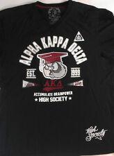 Alpha Kappa Delta T-Shirt High Society Embroidered Owl Frat Mens XL Tall V-Neck