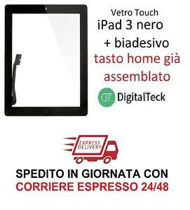 TOUCH-SCREEN-VETRO-per-Apple-iPad-3-WiFi-e-3G-MOD-A1416-A1430-A1403-NERO-TASTO