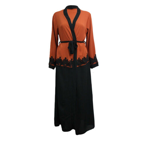 NUOVA linea donna Lunghezza Intera Pizzo a Contrasto con Cintura Cardigan Abaya Cardigan Vintage