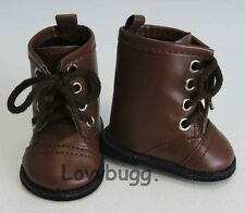 """Brown Lace Up Riding Frontier Pioneer Boots for 18"""" American Girl Boy Doll Shoes"""