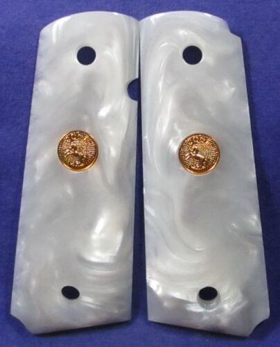 COMMANDER KIMBER NEW Gold Medallion Resin Pearl Grips for COLT 1911