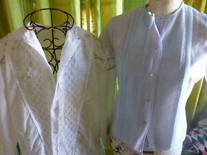 Beau Lot=t42 Nylon Des Années 30/50=2corsages Femmes Blanc,bleu Surbrodés 4mb7obhi-07232923-366607497