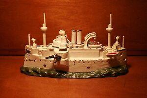 Large-Antique-Painted-Cast-Iron-Maine-Battle-Ship-Bank-J-amp-E-Stevens-cir-1902