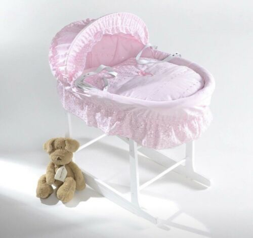 Stand Isabella Alicia Pink Double Border Designer Baby wicker moses basket