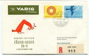 Travailleur Ffc 1966 Varig Airlines First Flight Dc 8 Zurich Recife Brasilien Registered