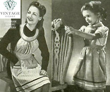 Make do & mend-1940s diagram sewing pattern-2 aprons from an old shirt & dress