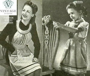 Make-do-amp-mend-1940s-diagram-sewing-pattern-2-aprons-from-an-old-shirt-amp-dress