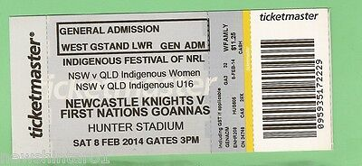 #D92  USED NEWCASTLE KNIGHTS V FIRST NATIONS GOANNAS RUGBY LEAGUE TICKET |  eBay