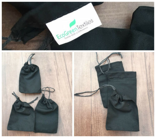 200 3x4 inch Black Cotton Bags Single Drawstring Quantity Quality Bags