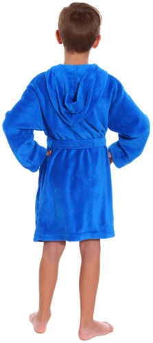 Boys Girls Plush Hooded Bath Robe Kids Child Outdoor Cover up W// Pockets