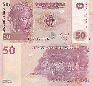 Congo-DR-50-Francs-30-06-2013-Carving-Village-Scene-p97A-UNC