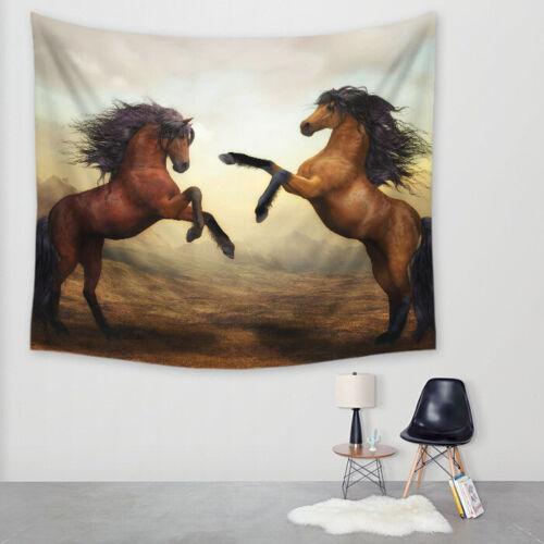 Animal Chevaux Tapestry Wall Hanging Wall Sticker Plage Serviette Tapis de yoga blanket