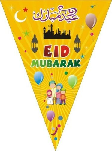 Eid Mubarak Party Decorations Bunting and Banner And Balloons 2020 23pc/'s Yellow