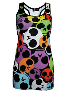 NEW-LADIES-MULTI-RAINBOW-SKULLS-PRINT-LONG-VEST-TOP-SUMMER-DRESS-GOTH-PUNK-EMO