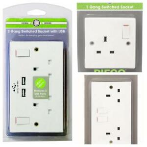 PIFCO-1-2-GANG-SINGLE-DOUBLE-SWITCHED-WALL-SOCKET-USB-MOBILE-PHONE-TABLET-CHARGE