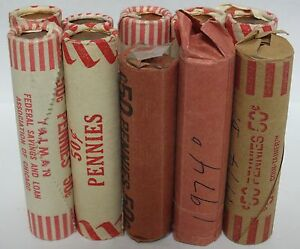 10-Coin-Rolls-1974-D-Lincoln-Memorial-Cents-Uncirculated-Pennies-Denver-JR825