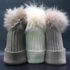 Womens Raccoon Fur Pom Pom Bobble Ski Hat Winter Warm Wool Blend Knit Beanie Cap
