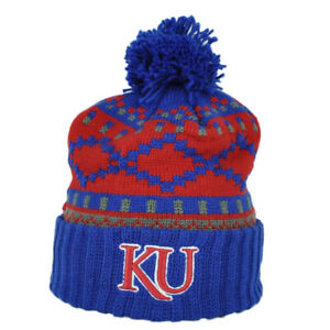 NCAA-Adidas-Kansas-Jayhawks-KU81Z-Pom-Knit-Beanie-Cuffed-Hat-Blue-Red