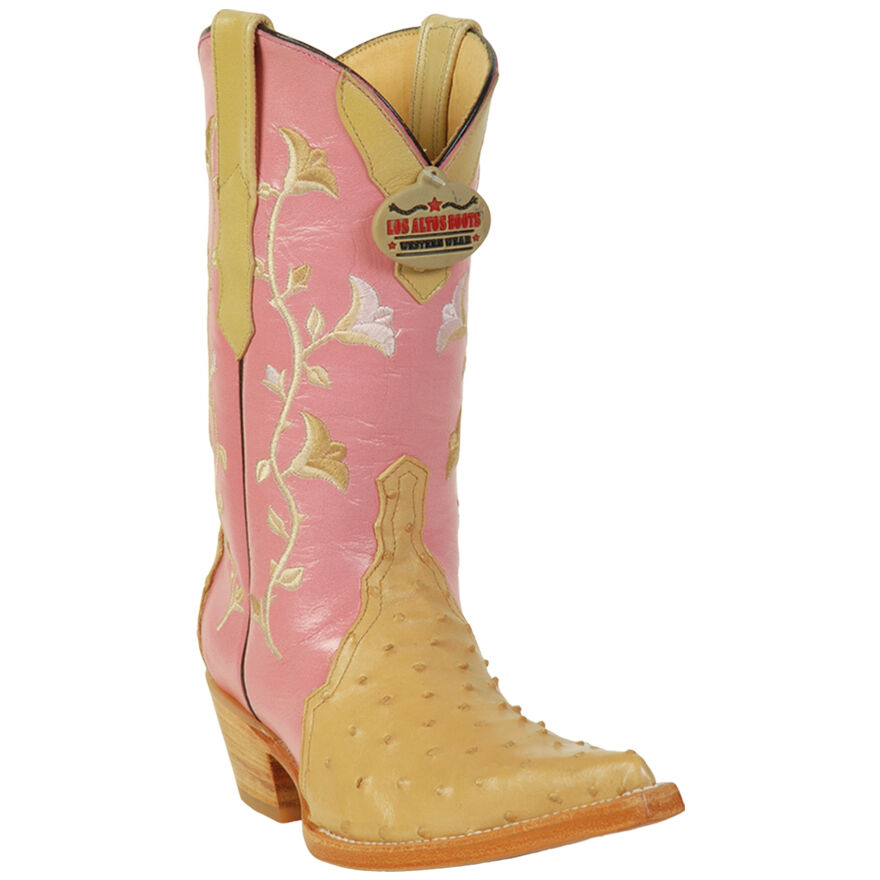 Sand Ostrich Boots For Women Genuine Exotic Skin Los Altos Boots Handmade