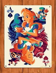 tin sign alice in wonderland ace card disney art painting ride