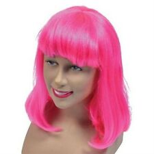 New Neon Hot Pink Hen Party Cosplay Shoulder Length Fancy Dress Wig P381
