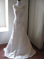 NWOT$3200 NINA LEAL MANON Trumpet Italian duchess silk wedding dress fits S 4 6