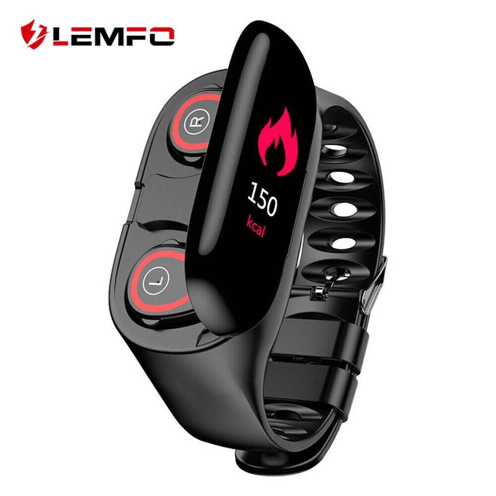 Reloj inteligente lemfo ritmo cardíaco Muñequera Doble azultooth Auriculares Para Android IOS