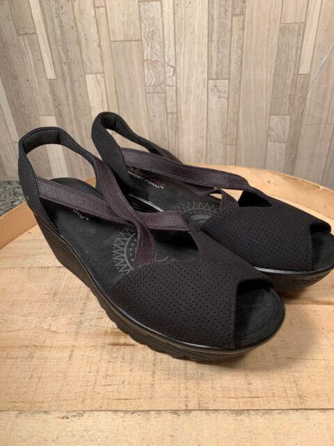 Skechers Peep-Toe Sling Back Wedges Piazza Black 8.5M NEW Defect A302845