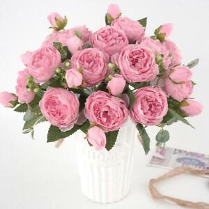 13 Heads Silk Peony Artificial Flowers Peony Wedding Bouquet Home Party Decor bu