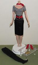 The Artist Barbie Silkstone Fashion Outfit Only Striped Top, Black Skirt, Beret