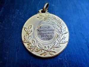 alte-Medaille-Ecole-Professionnelle-Accordeon-1-er-Prix-1928-Musik-Sammlerstueck