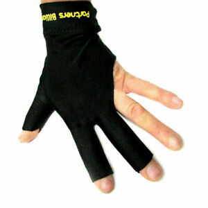 Cue-Glove-Pool-Left-Hand-Three-Finger-Accessory-Snooker-Billiard-Black-Spandex