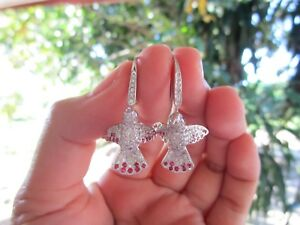 2.30 Carat Diamond White Gold Hummingbird Dangling Earrings 18k codeEx52 sep