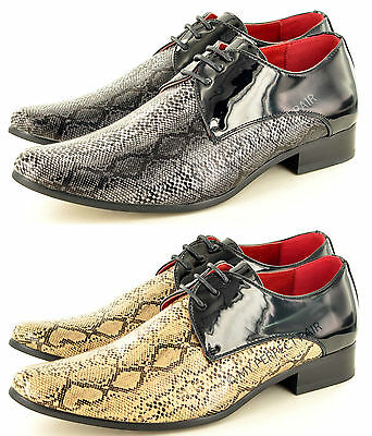 2019 Mode Mens Leather Lined Snake Skin Pattern Pointed Winkle Pickers Patent Shiny Shoes HüBsch Und Bunt