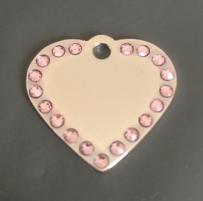 Engraved Cat//Dog//Pet ID tag bling *SMALL* SILVER HEART with *PINK* Diamantes