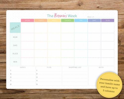 A3 Personalised dry wipe whiteboard weekly family organiser//planner.