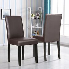 Set of 2 Kitchen Dinette Dining Room Chair Elegant Design Brown Leather Backrest