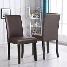 Set Of 2 Kitchen Dinette Dining Room Chair Elegant Design Brown Leather Backrest