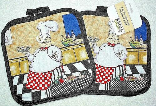 Pot holders Chef set of 2 cotton pictorial kitchen nwt