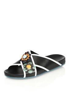 FENDI Flowerland Black Leather Slip On