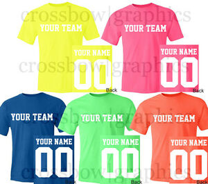 528a9fe8 Image is loading Custom-NEON-T-Shirt-JERSEY-Personalized-Name-Number-