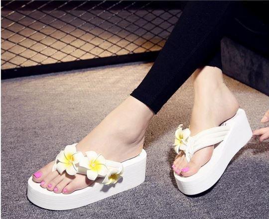Sandali ciabatte ciabatte ciabatte donna infradito bianco fiori  zeppa 5.5 cm eleganti comodi 9279 | Prestazione eccellente  7e6980